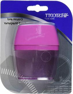 Westcott 2 Hole Crayon and Pencil Sharpener, Assorted Colors