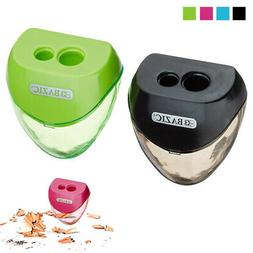 2 Set Pencil Sharpener Double Hole Cutter Colors School Supp