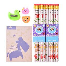 20 Set Wooden Pencil Graphite with Erasers Party Bag Filler