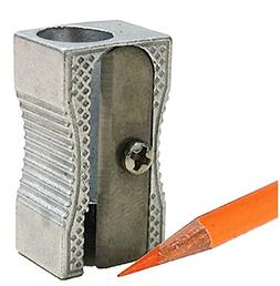 24 Metal Rectangular Silver Pencil Sharpeners, 1 Hole Steel