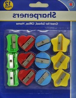 12 Pack 4 Colors 4 Style Pencil Sharpener