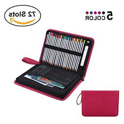 72 Slots Foldable Pencil Case Large Capacity Zippered Pen Ba