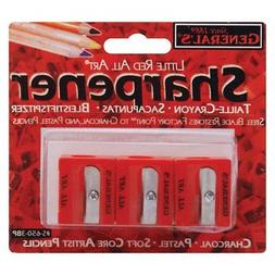 General Pencil All-Art Sharpener, Pack of 3, Little Red