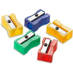 Acme United One-Hole Manual Pencil Sharpeners, Red/Blue/Gree