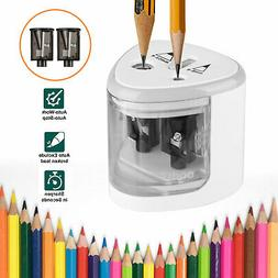 Automatic Electric Touch Switch 2 Holes Pencil Sharpener for