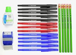 Pens Black, Blue and Red, Pencils For School, Sharpener Eras