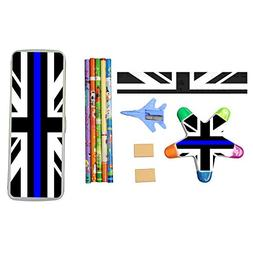 Britain Flag Thin Blue Line Stationery Set with Plastic Penc