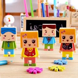 Cartoon DIY Assembly Double Hole Pencil Sharpener With The E