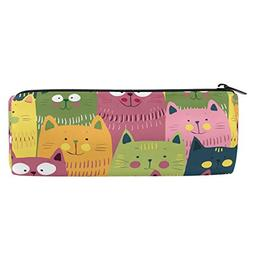 ALAZA Cartoon Green Pink Yellow Cat Pencil Pen Case Pouch Co