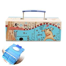 Cartoon Kids Handheld Password Pencil Box, Three-tier Portab