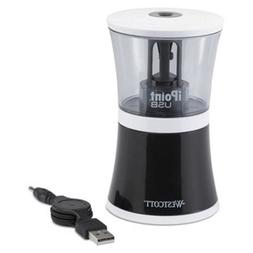 """- USB/Battery Operated Pencil Sharpener, Black/Clear, 5 7/8"""""""