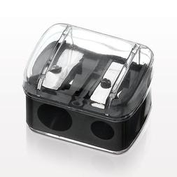 CLOSEOUT! Dual Size Black Covered Cosmetic Pencil Sharpener