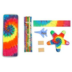 Colorful Spiral Tie Dye Stationery Set with Plastic Pen Box,