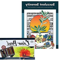 Coloring Book and Colored Pencil Drawing Set Bundle: Succule