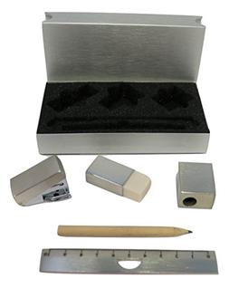 """Cool Mini Stationery Set in a Stainess Steel Case  3"""" X 5""""."""