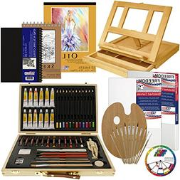 U.S. Art Supply 66-Piece Artist Oil Painting Set - Wood Ease