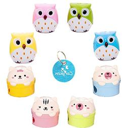 Carykon Pack of 8 Cute Animal Owl Bear Pencil Sharpeners 2 H