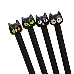 Gbell 4X Cute Black Cat Gel Pens, Kawaii Stationery Creative