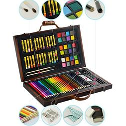 KIDDYCOLOR Deluxe Art Set for Kids in Wooden Case 79 pcs chr