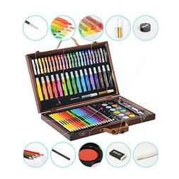 KIDDYCOLOR Deluxe Wood Art Set for Kids Drawing Set in Woode