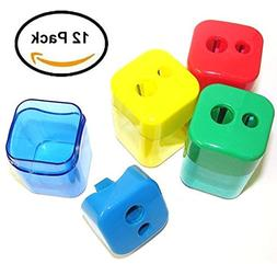 Set Of 12 Double Hole Pencil Sharpeners Square Shaped With C