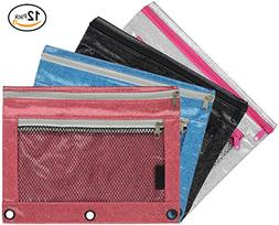 Emraw Double Pocket Zippered Glitter Pencil Pouches with 3-R