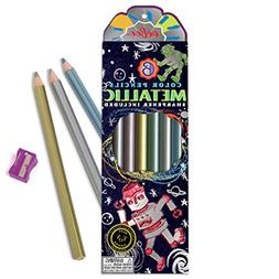 eeBoo Silver Robot Metallic Colored Pencils, Set of 6