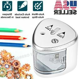 Electric Automatic Pencil Sharpener Dual Holes Battery Opera
