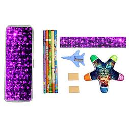 Fuchsia Bling Diamond Jewel Stationery Set with Plastic Penc