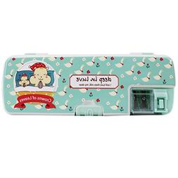 LABANCA Boys Girls Hard Plastic Double Deck Pencil Box 2 Sid