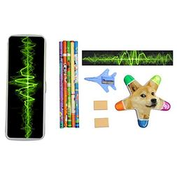 Green ECG Wave Wavy Line Stationery Set with Plastic Pen Box