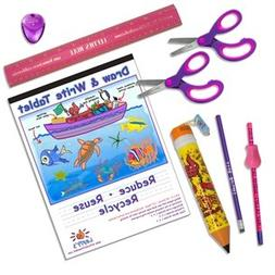 Left-handed School Supplies  for Kids Under 8, 9 Pc Set; Pin