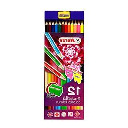 Horse Wooden Colored Pencils 12 Color with Free Sharpener, P