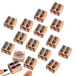 KUM Wooden 2-Hole Sharpeners - Box of 16 - for Standard and