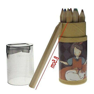 12 Colors Durable Drawing Painting Stationary Pencil Sharpen