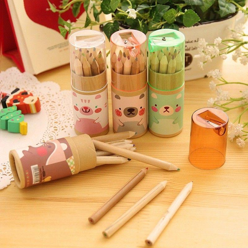 12pc Lovely Cartoon Mini Color Art Pencil with Pencil Sharpe