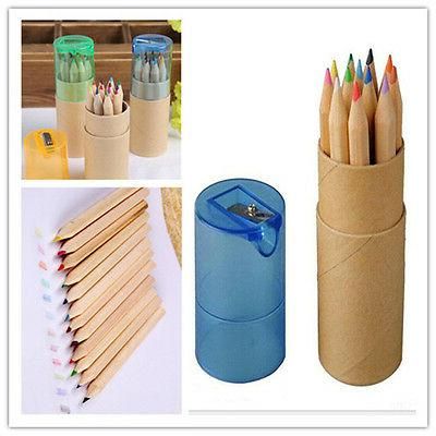 12pcs/Set Child Colored Sketch Drawing Pencil with Pencil