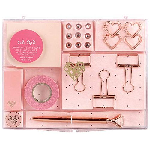 MultiBey Rose Gold Tone Stationery Set Clips Tape Memo Note