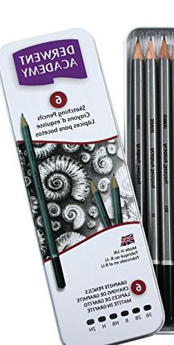 Derwent Academy Sketching Pencils, 6 Degrees of Hardness, Me