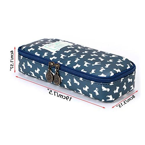 BTSKY Case - Capacity Floral Pencil Multifunction Cosmetic Makeup Perfect Holder for and