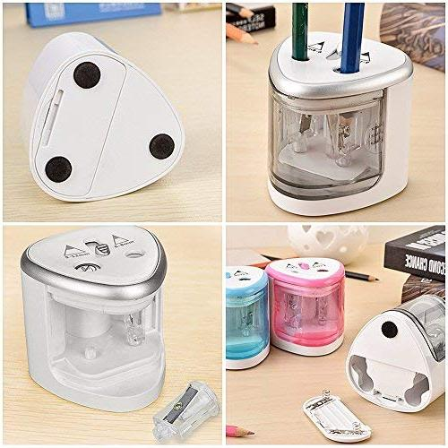 Lvcky Double Holes Pencil Sharpener Heavy Battery All Kinds Drawing Silver