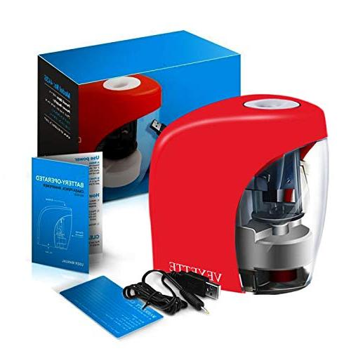 Electric Sharpener, Electrical for NO.2 Pencils, Small Pencil For Home Office, USB Plug Red