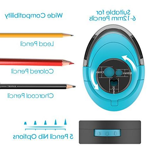Electric Pencil Sharpener Durable Helical Blade Fast Sharpen, Rechargeable Sharpener for Pencils, Home