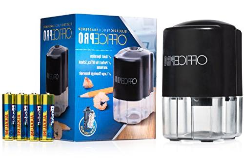OfficePro Pencil Sharpener - For Classroom, Steel Blade Sharpens All Pencils Color, Ultra-Portable - Batteries Included