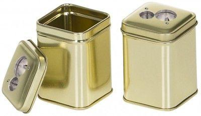 metal box with double sharpener in gold