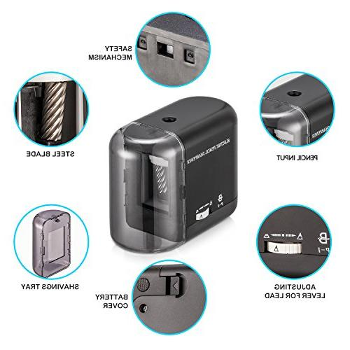BOOCOSA Pencil Sharpener, Heavy Steel Blade, Electric with Auto Stop for Classroom Precise Perfect Point time for Adults