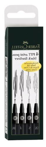Pitt Pigmented Drawing India Ink Artist Pen Box of 4 Line Wi