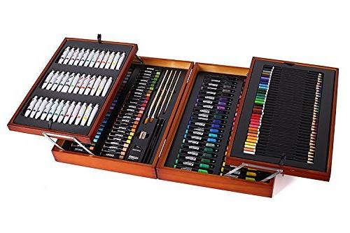 Art Kit in Wood Box Includes Acrylic Oil Oil Pastels Art Supplies for Painting and Drawing Color Pencils Mont Marte 174-Piece Deluxe Art Set Watercolor Paints