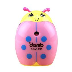 Baidecor Lighted Manual Pencil Sharpener Pink Ladybird Shape