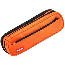 LIHIT LAB. Double Zipper Pen Case, 9.4 x 2.4 x 3 inches, Ora
